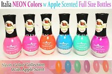 Italia Neon Colors Nail Polishes w/ Apple Scented - Full Size 6 PCs *US SELLER*