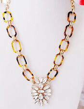 NEW Tortoise Shell Gold Tone Link Glass Crystal Pendant Statement Necklace
