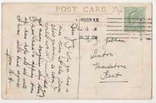 London N.W. 1909 Machine Postmark on Postcard, B589