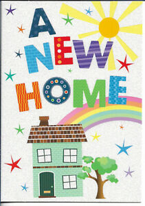"""A NEW HOME GREETING CARD 7""""X5"""" HOUSE, RAINBOW FREE P&P"""