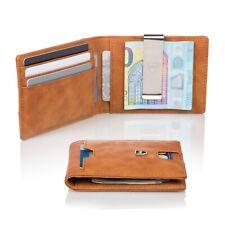 Kronenschein® Geldbörse Herren klein mit Geldklammer RFID Braun Geldbeutel