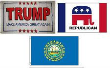 3x5 Trump White #2 & Republican & State New Hampshire Wholesale Set Flag 3'x5'