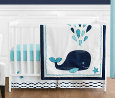 Sweet Jojo Designs Bumperless White Blue Whale Baby Girl Boy 4p Crib Bedding Set