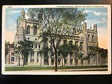 Vintage Postcard>1920>Harper Memorial Liibrary>University of Chicago>Illinois