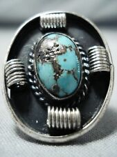 RARE NAVAJO NATIVE AMERICAN TURQUOISE STERLING SILVER RING