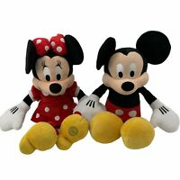 Lot 2- Mickey & Minnie Mouse Polka Dot Outfit Stuffed Plush Disney Collectible
