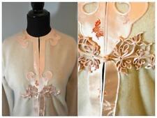 VTG 1950s 60s Sweater Pinup Top Wool Sz 38 Beige & Pink Unique Asian Design
