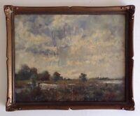 Tableau ancien Impressionniste Beau Paysage de Bocage Huile signée à Restaurer