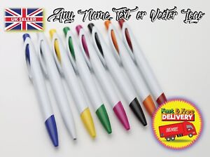 Personalised Plastic ballpoint pen with any logo text name gift curved clip