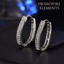 Boucles d'oreilles créoles ovales tendances cristal swarovski plaqué or blanc