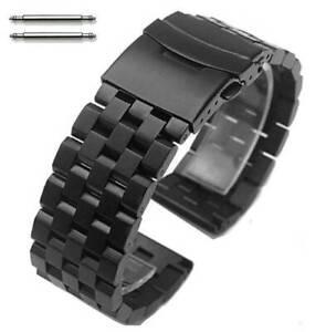 Black PVD SS Steel Metal Watch Band Strap Bracelet Double Locking Buckle #5052