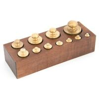 Set 11 pesi bilancia precisione in ottone lucido con base in legno zoccoletto