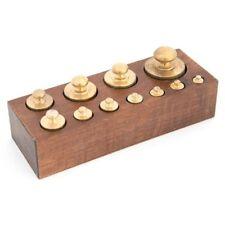 Set 11 pesi bilancia precisione in ottone lucido con base in legno