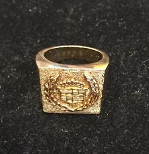 """14K Yellow Gold Men's Large Heavy """"Cadillac"""" Ring, Size 11"""