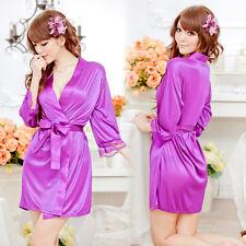 Women Sexy-Lingerie Sleepwear Satin Silk Babydoll Lace Robes Sleep Dress Skirt
