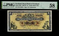 Scotland 1 Pound 1965-67 Graded by PMG 58  Pick # 325b