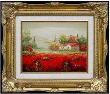 Framed Quality Hand Painted Oil Painting, Tuscany Italy Poppy Field - 3, 8x10in