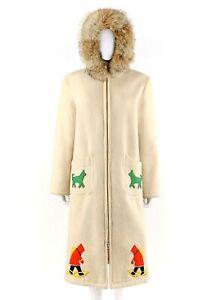 Vtg INUVIK PARKA ENTERPRISE c.1970's Cream Coyote Fur Hooded Eskimo Parka Coat