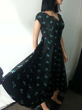 VTG 50s Custom Made Dress Black Blue Embroidery Faux Pearls Pin Up Swing S/M