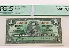 1937 1 Dollar Bank of Canada Coyne-Towers 58 PPQ