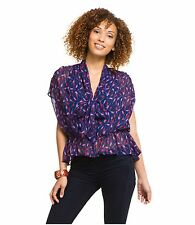 NEW Hype women's Cupid print multi-color silk blouse top size M $220