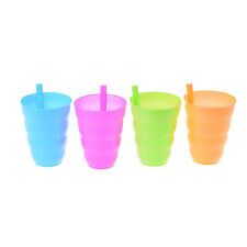 4X Kid Children Baby Sip Cup con taza de paja incorporada Drink Solid Feeding VP