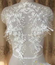 1 Pair Bridal Lace Trim Applique DIY Wedding Dress Motif Bodice Embroidered