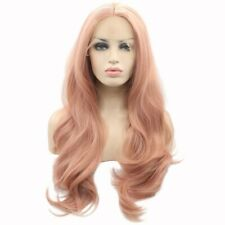 ENilecor Pink Lace Front Wigs Long Curly Synthetic Color Hair Replacement 22in