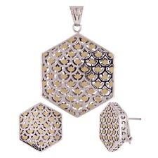 Italian 18k Two Tone Gold Hexagon Earrings & Pendant Set 12.9 grams