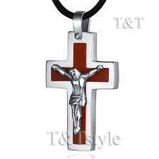 T&T WOOD Stainless Steel JESUS Cross Large Pendant NEW