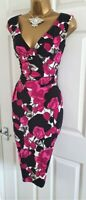 🎀 Phase Eight Rose Black Floral Party Wedding Evening Occasion Wiggle Dress 12