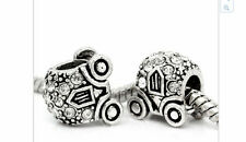 Silver cinderella style carriage charm pd bracelet european bead beads charms
