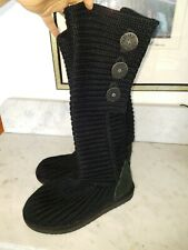 UGG Australia Black Sweater Knit Classic Cardy Foldover Boots Size 5 SN 5819