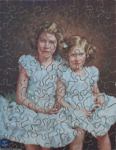 """Vintage Cow & Gate wooden jigsaw puzzle. """"The Two Royal Princesses"""" Marcus Adams"""