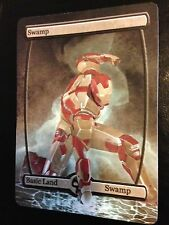 Custom Made Full Art Magic the Gathering Swamp Iron Man EDH Card