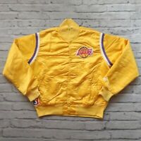Vintage 90s Los Angeles Lakers Satin Jacket by Starter Size L Distressed