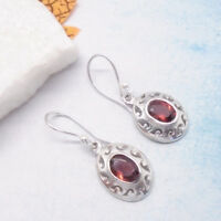 Granat rot oval red Design Ohrringe Ohrhänger Hänger 925 Sterling Silber neu