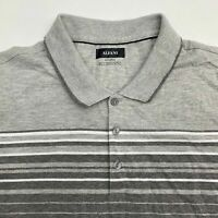 Alfani Polo Shirt Mens 2XL XXL Gray Short Sleeve Cotton Blend Striped Casuals