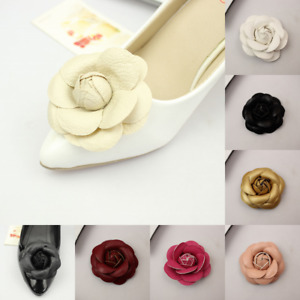 2pcs Shoe Flowers Fibre Rose Flowers Wedding Boots DIY PU Leather No Clips