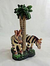 "Zebra Figurine 8"" Two with Palm Tree Center Resin"