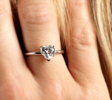 HEART SHAPED CUT SOLITAIRE ENGAGEMENT RING 14K WHITE GOLD 1.30 CT