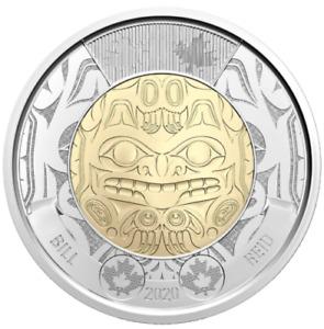 2020 Canada Bill Reid's birth - Haida Art $2 non-COLOURED Toonie -- from roll