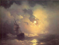 ZWPT327 hand-painted Tempest on the sea ship at night art oil painting on canvas