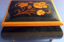 """Wood Music Box Italian Marquetry Vintage Reuge Swiss Movement  Plays """"Always"""""""