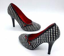 MICHAEL ANTONIO Size 7 Black White Houndstooth Round Toe Stiletto High Heel Shoe