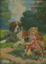 Vintage 1930's-40s Print St. Bernard Dog & Puppies Curly Haired Blonde Girl