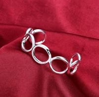Bracelet Classique Forme Anneaux Plaqué Argent Brillant - Bijoux des Lys