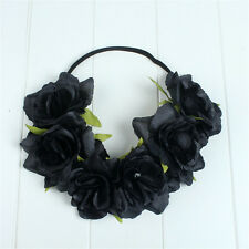 Black Rose Flower Forehead Hair Headband Hair Crown Summer Festival Garland