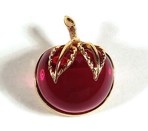 RETRO VINTAGE SARAH COVENTRY FUCHSIA PINK APPLE FRUIT JELLY BELLY PIN BROOCH