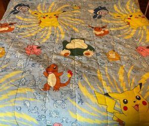 Vintage Pokemon Blanket 1998 Nintendo Video Game 88 x 60 Twin Size